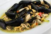 Appetizing dish with mussels