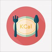 Calories Diet Flat Icon With Long Shadow,eps10
