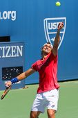 Professional tennis player David Ferrer practices for US Open 2014