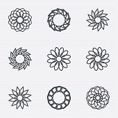 Circle geometric ornaments. Spirographs set.