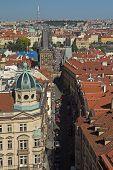 Aerial View Of Nerudova Street  In Prague