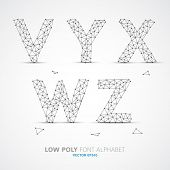 Wire Vector low poly alphabet font with shadow