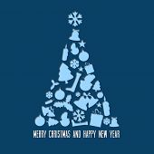 Vector christmas tree made from various shapes (white and blue version)