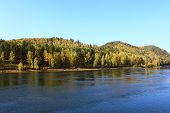 foto of kan  - Autumn landscape with the river near the city of Kan Zelenogorsk - JPG