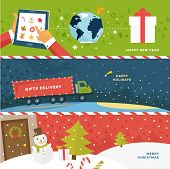 Set of Christmas Illustrations. Delivery Truck with Gifts. Shipping Xmas Gifts Concept. Online Holiday Shopping. Snowman, Christmas Tree, Snow Globe, Mittens and other Holiday Icons. Winter Landscape.