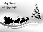 image of rudolph  - Black Christmas background with Santa in sledge - JPG