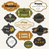 Set Of 12 Isolated Thanksgiving Frames And Labels