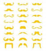 Blond moustache or mustache vector icons set