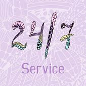 Hand drawn doodle service around the clock