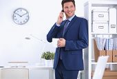 Smiling businessman standing and using mobile phone