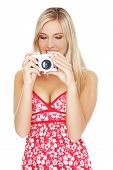 Blonde beautiful woman taking photos