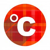 celsius red flat icon isolated