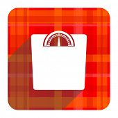 weight red flat icon isolated