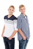 Portrait of twin brothers isolated on white