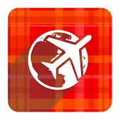 travel red flat icon isolated