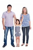 Portrait of a happy family in a full length isolated on white