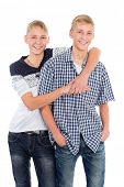 Cheerful twin brothers isolated on white background