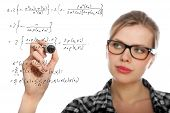 Blonde Student Girl Drawing A Mathematical Formula