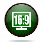 16 9 display green internet icon
