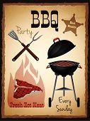 pic of bbq party  - Bbq party fresh hot meat best steaks grill menu advertising poster vector illustration - JPG