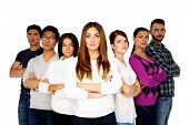 Serious woman leading her team over white background