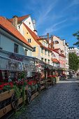 Riga, Latvia - July 31, 2014: Old street at the center of Riga