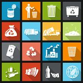 stock photo of dumpster  - Garbage recycling icons flat set of trash bin bottle litter isolated vector illustration - JPG