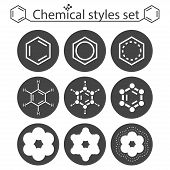 Chemical Style Icon Set On Round Gray Plates