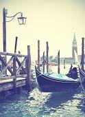 Gondolas in Venice, Italy. Instagram style filtred image