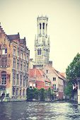 View of Bruges in Belgium. Instagram style filtred image
