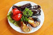 Top View Of Grilled Vegetables On White Plate