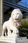 Marble Medici Lion With Sphere Near Alupka Palace