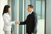 smiling businessman handshaking with businesswoman in office