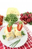 Stuffed Cheese Crepe Rolls With Chives