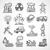 Industrial sketch icon set