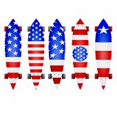 Vector illustration of american flag longboards