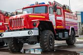 foto of fire brigade  - Fire truck is a motor vehicle chassis equipped with fire fighting equipment equipment used in fire - JPG