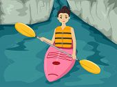 Illustration Featuring a Girl Maneuvering a Kayak