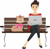 Illustration Featuring a Girl Using a Laptop in a Dog Park While Her Dog Sits Beside Her