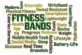 Fitness Bands word cloud on white background