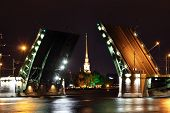 open drawbridge at night in St. Petersburg Russia