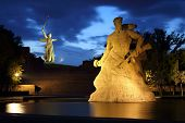 Monument Stay to Death in Mamaev Kurgan at night, Volgograd, Russia
