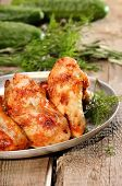 Fried Chicken Wings On Wooden Table