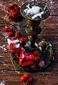 red Christmas decorations in vintage style