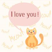 Cute romantic background with cat