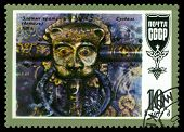 Vintage  Postage Stamp. Mask. Cathedral Of The Nativity,  Suzdal.