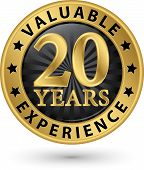 foto of experiments  - 20 years valuable experience gold label vector illustration - JPG
