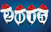 Bubble speech 2015 with christmas hats - vector illustration