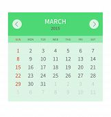Calendar monthly march 2015 in flat design