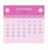 Calendar monthly september 2015 in flat design